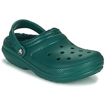 Čevlji  Cokli Crocs CLASSIC LINED CLOG Zelena