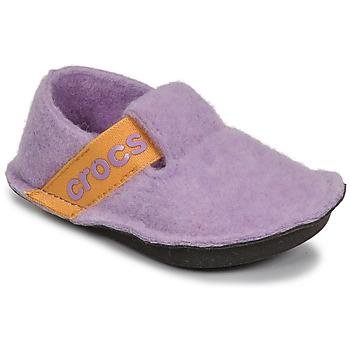 Čevlji  Deklice Nogavice Crocs CLASSIC SLIPPER K Vijolična / Rumena