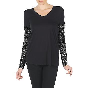 Oblačila Ženske Majice z dolgimi rokavi Manoush TSHIRT ML INDIAN BASIC Črna