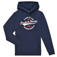 Oblačila Dečki Puloverji Jack & Jones JJELOGO SWEAT HOOD Modra