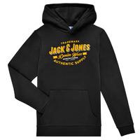 Oblačila Dečki Puloverji Jack & Jones JJELOGO SWEAT HOOD Črna
