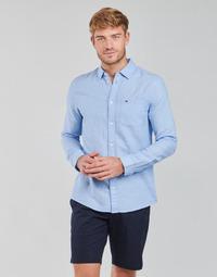 Oblačila Moški Srajce z dolgimi rokavi Tommy Jeans TJM LINEN BLEND SHIRT Modra