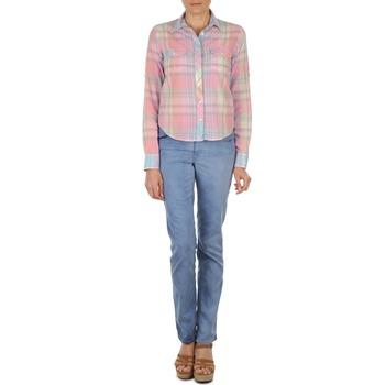 Oblačila Ženske Jeans straight Gant DANA SPRAY COLORED DENIM PANTS Niebieski