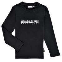 Oblačila Dečki Majice z dolgimi rokavi Napapijri S-BOX LS Črna