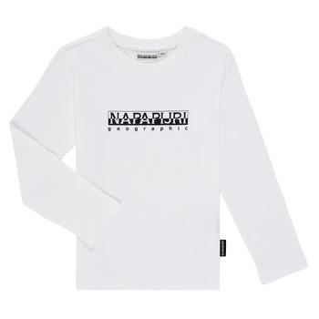 Oblačila Dečki Majice z dolgimi rokavi Napapijri S-BOX LS Bela