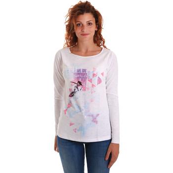 Oblačila Ženske Majice z dolgimi rokavi Key Up 5G68S 0001 Biely