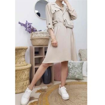 Oblačila Ženske Kratke obleke Fashion brands CD2293-BEIGE Bež