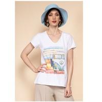 Oblačila Ženske Topi & Bluze Fashion brands 8301-COMBI-SKY-BLUE Modra