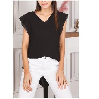 Oblačila Ženske Topi & Bluze Fashion brands F2106-BLACK Črna