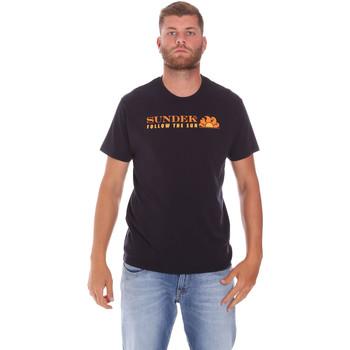 Oblačila Moški Majice s kratkimi rokavi Sundek M049TEJ7800 Črna