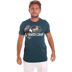 Oblačila Moški Majice s kratkimi rokavi Roberto Cavalli HST68B Zelena