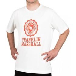Oblačila Moški Majice s kratkimi rokavi Franklin & Marshall T-shirt Franklin & Marshall Classique blanc crème