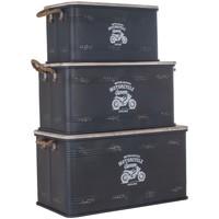 Dom Kovčki in škatle za shranjevanje Signes Grimalt Škatla Set Od 3 U Negro