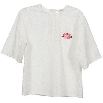 Oblačila Ženske Topi & Bluze Manoush FLOWER BADGE Bela
