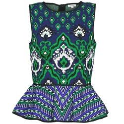 Oblačila Ženske Majice brez rokavov Manoush JACQUARD OOTOMAN Modra / Črna / Zelena