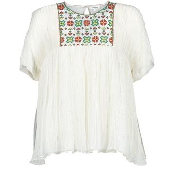 Oblačila Ženske Topi & Bluze Manoush POINT DE CROIX Krémově bílá