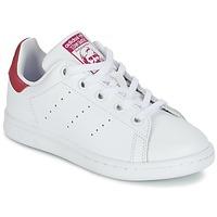Čevlji  Deklice Nizke superge adidas Originals STAN SMITH EL C Bela / Rožnata