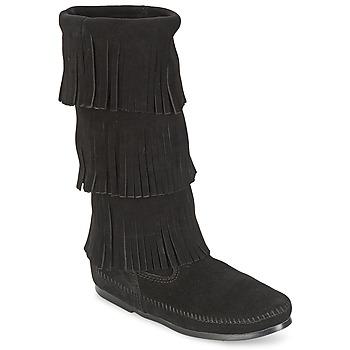 Čevlji  Ženske Mestni škornji    Minnetonka CALF HI 3 LAYER FRINGE BOOT Črna