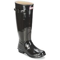 Čevlji  Ženske škornji za dež  Hunter ORIGINAL TALL GLOSS Črna