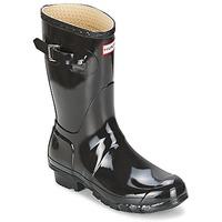 Čevlji  Ženske škornji za dež  Hunter WOMEN'S ORIGINAL SHORT GLOSS Črna