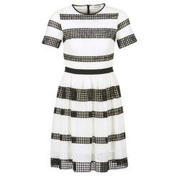 Oblačila Ženske Kratke obleke MICHAEL Michael Kors GRAPHIC CR STRIPE DRS Črna / Bela