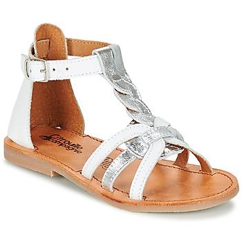 Čevlji  Deklice Sandali & Odprti čevlji Citrouille et Compagnie GITANOLO Bela / Srebrna