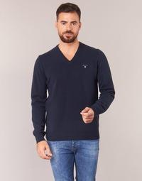 Oblačila Moški Puloverji Gant SUPER FINE LAMBSWOOL V-NECK Modra