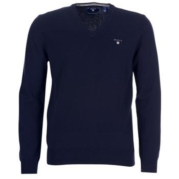 Oblačila Moški Telovniki & Jope Gant SUPER FINE LAMBSWOOL V-NECK Modra
