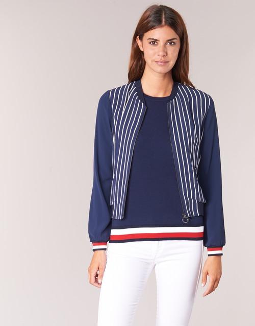 Oblačila Ženske Jakne & Blazerji Tommy Hilfiger NALOME GLOBAL STP BOMBER Bela / Rdeča