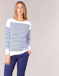 Oblačila Ženske Majice z dolgimi rokavi Armor Lux AMIRAL Bela / Modra