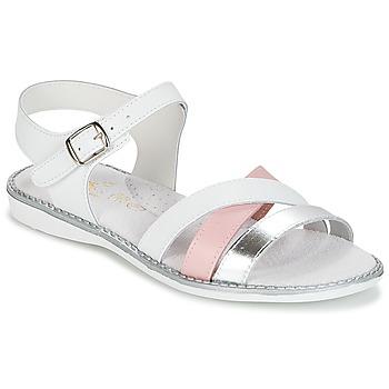 Čevlji  Deklice Sandali & Odprti čevlji Citrouille et Compagnie IZOEGL Bela / Rožnata / Srebrna