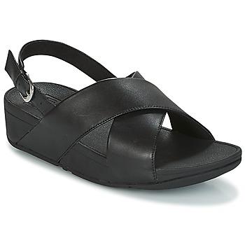 Čevlji  Ženske Sandali & Odprti čevlji FitFlop LULU CROSS BACK-STRAP SANDALS - LEATHER Črna