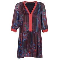 Oblačila Ženske Kratke obleke Sisley CEPAME Črna / Rdeča / Modra
