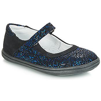 Čevlji  Deklice Balerinke GBB PLACIDA Modra / Črna