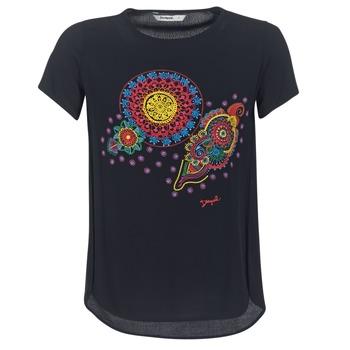 Oblačila Ženske Majice s kratkimi rokavi Desigual NAIKLE Črna