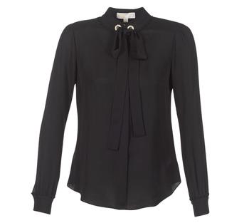 Oblačila Ženske Topi & Bluze MICHAEL Michael Kors GROMMET NK TIE BLSE Črna