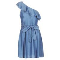 Oblačila Ženske Kratke obleke MICHAEL Michael Kors ONE SHLDR RUFFLE DRS Denim