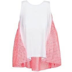 Oblačila Ženske Majice brez rokavov Manoush AJOURE CARRE Bela / Rožnata