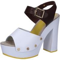 Čevlji  Ženske Sandali & Odprti čevlji Suky Brand sandali bianco pelle marrone AC809 Multicolore