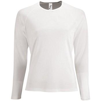 Oblačila Ženske Majice z dolgimi rokavi Sols SPORT LSL WOMEN Blanco