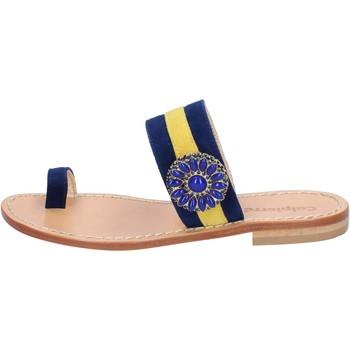 Čevlji  Ženske Sandali & Odprti čevlji Calpierre sandali blu camoscio giallo BZ841 Multicolore