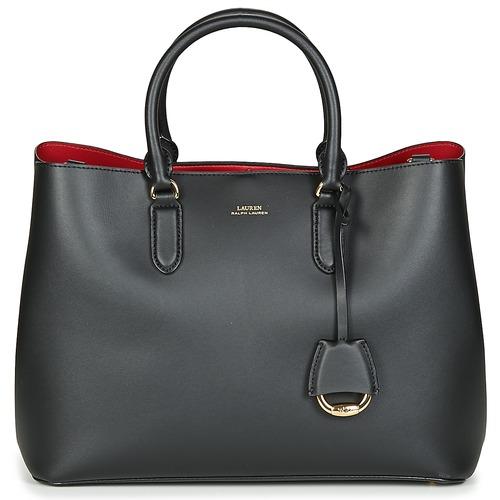 Torbice Ženske Ročne torbice Lauren Ralph Lauren DRYDEN MARCY SATCHEL LARGE Črna / Rdeča