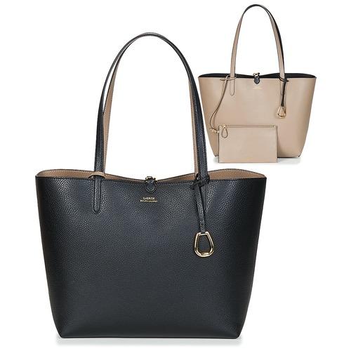Torbice Ženske Nakupovalne torbe Lauren Ralph Lauren MERRIMACK REVERSIBLE TOTE MEDIUM Črna / Taupe