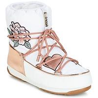 Čevlji  Ženske Škornji za sneg Moon Boot PEACE & LOVE WP Bela / Rožnata / Zlata
