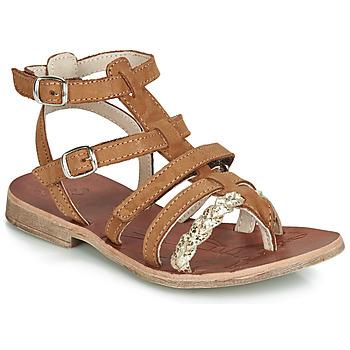 Čevlji  Deklice Sandali & Odprti čevlji GBB NOVARA Cognac / Pozlačena